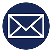 Circular icon of a mail envelope