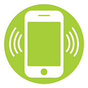 Circular Icon of a Ringing Cell Phone