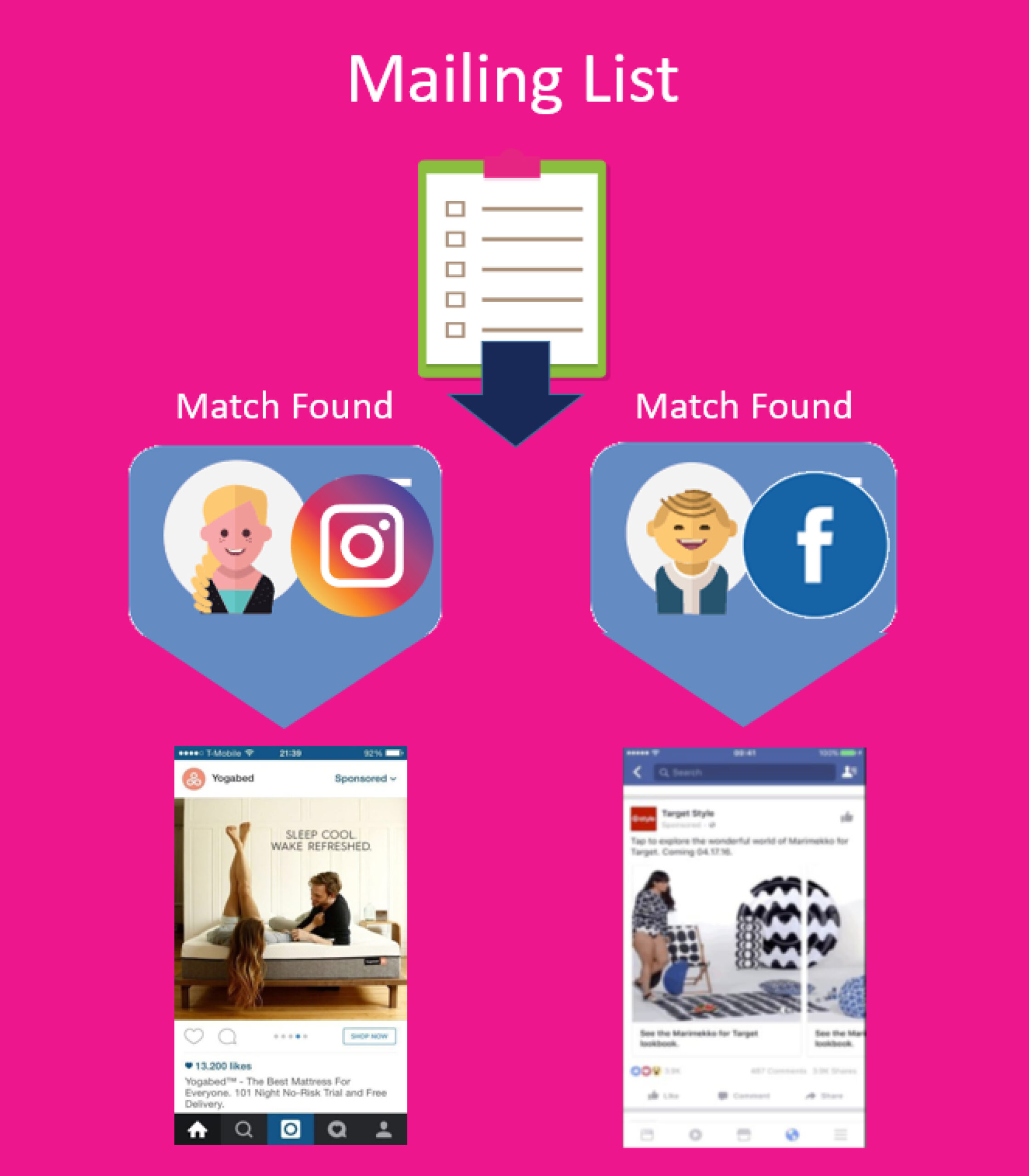 A graph showing a mailing list creating matches for Instagram and Facebook Advertising