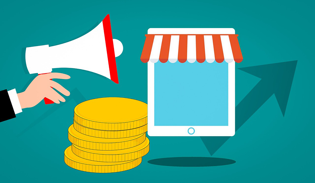 Graphic of a digital store and advertisement